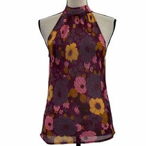 Floral halter Open Back Sleeveless Blouse 38/8